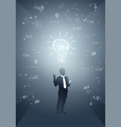 business man silhouette light bulb new idea vector image