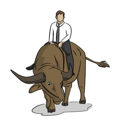 businessman riding buffalo vector image