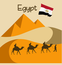 Caravan of camels in egypt near great pyramids vector