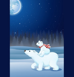 cartoon baby polar bear riding on her mother vector image