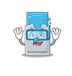 Cartoon character key card wearing diving vector