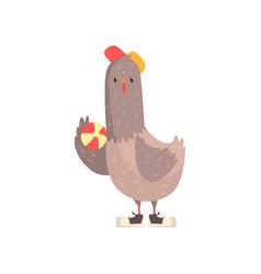 cartoon character of urban gray dove in cap with vector image