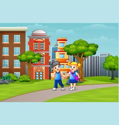cartoon couple school children walking on the road vector image