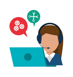 Character call center laptop talking bubble vector