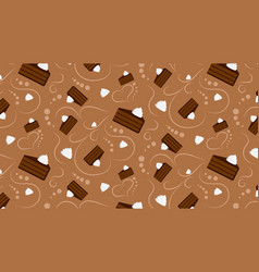Choclate cake with whipped cream pattern vector