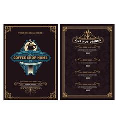 Coffee shop menu template vintage style vector