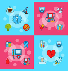Colored diabetes icons infographic concept vector