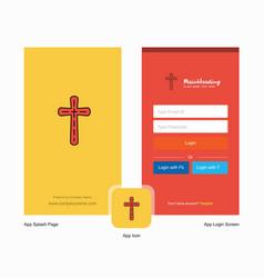 Company cross splash screen and login page design vector