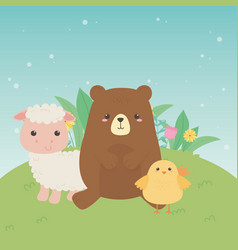 cute bear and sheep and chick animals farm vector image