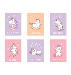 Cute unicorn greeting cards with quotes and vector