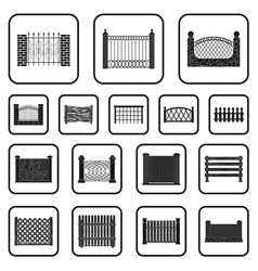 different fence black icons in set collection for vector image