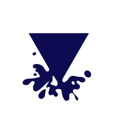 Dripping triangle dark blue icon liquid paint vector