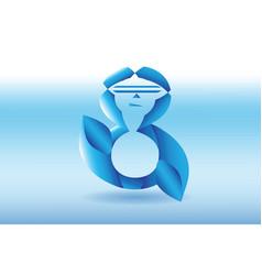 Eight logo design blue shaped vector