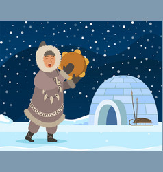Eskimo man arctic people near shelter igloo vector