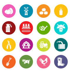 farm agricultural icons set colorful circles vector image