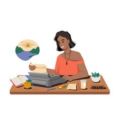 Female journalist write publication typing machine vector