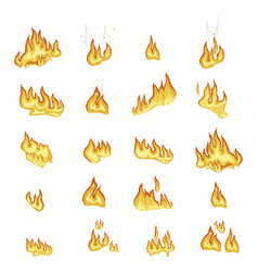 Fire flame signs collection on white background vector