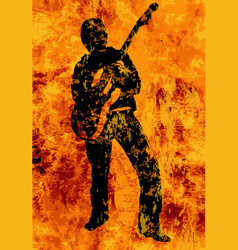 Flaming guitarist with electric guitar vector