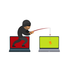 Flat hacker stealing card by fishing rod vector