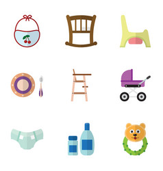 Flat icon baby set of rattle stroller baby plate vector