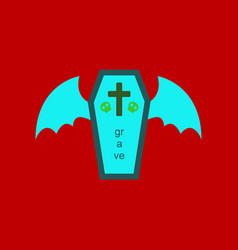 Flat icon on stylish background wings coffin vector