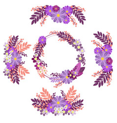 flower ornament circle groups in minimalist style vector image