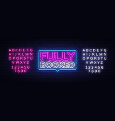 Fully booked neon text booked neon vector