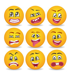 funny smileys faces isolated icon set vector image vector image