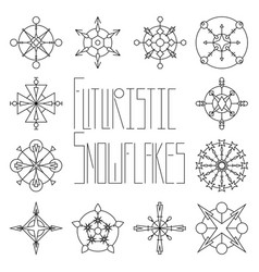 Futuristic snowflake set outlined on white vector