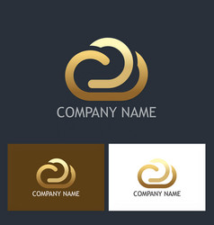 Gold cloud technology logo vector
