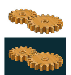 Golden gears vector