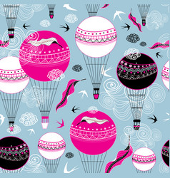 graphic design balloons and swallows vector image
