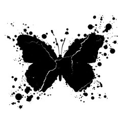 Grunge butterfly shape and paint blobs splattered vector