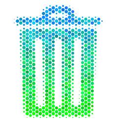 halftone blue-green trash bin icon vector image