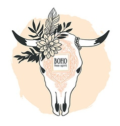 Hand drawn cow skull with ornament flower leaves vector