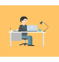 Happy businessman working with laptop Business in vector