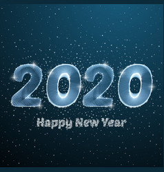 happy new year 2020 low poly circle poster blue vector image