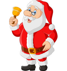 happy santa claus in glasses holding bell vector image