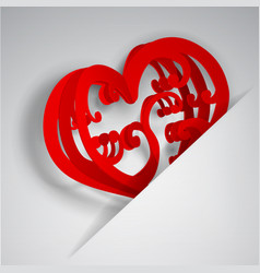 heart in cutout in paper vector image