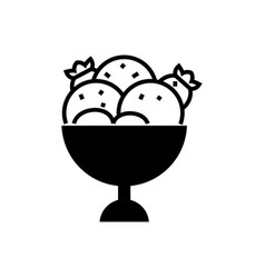 ice cream bowl icon black vector image