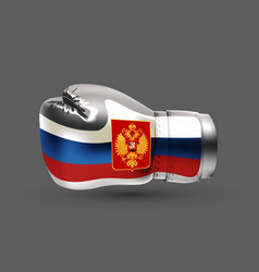 Isolated boxing glove russian flag realistic 3d vector