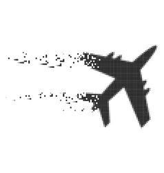 Jet plane disintegrating pixel icon vector