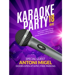 Karaoke party invitation poster design template vector image