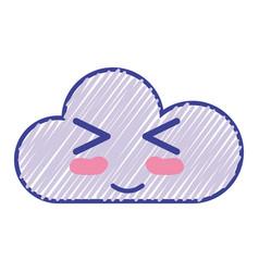 Kawaii nice funny cloud emoji vector