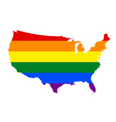 lgbt flag map of united states of america rainbow vector image