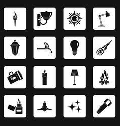 Light source symbols icons set squares vector