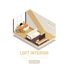 Loft interior isometric view vector