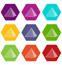 Louvre pyramid icons set 9 vector
