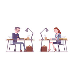 male and female teacher sitting and working at the vector image