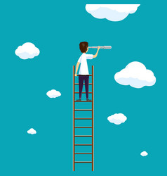 Man stands on a ladder in the sky with clouds vector